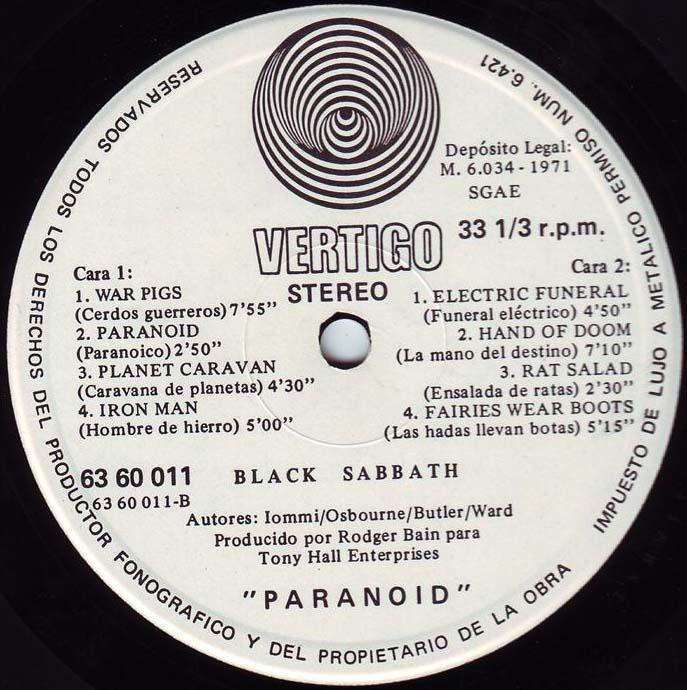 Paranoid Lp Albums
